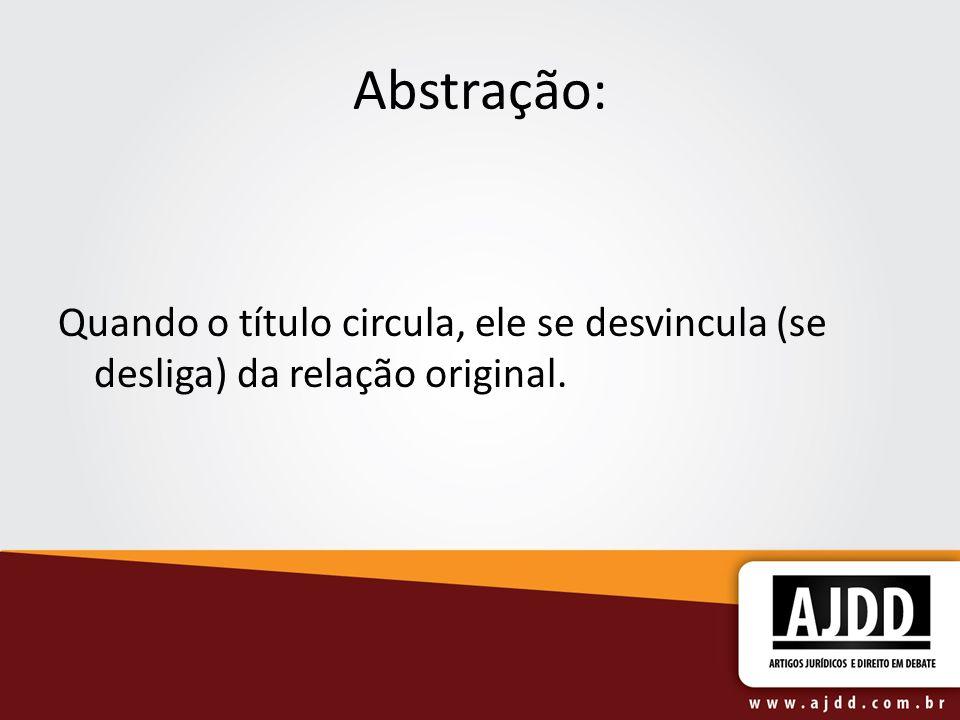 Abstração: Quando o título circula, ele se desvincula (se desliga) da relação original.