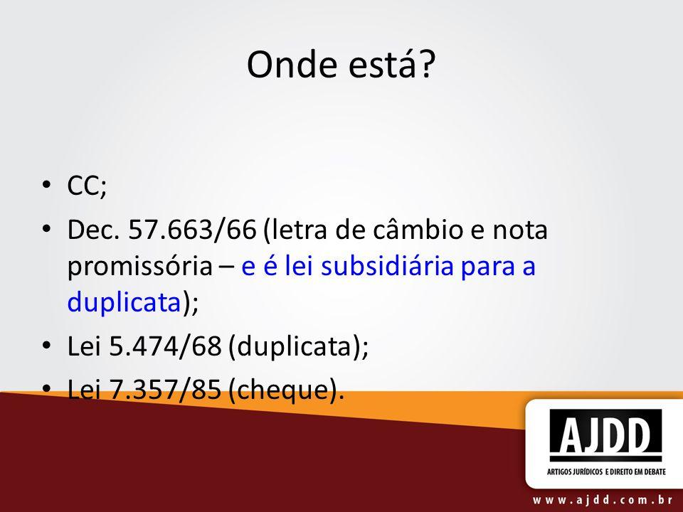 Onde está? CC; Dec. 57.663/66 (letra de câmbio e nota promissória – e é lei subsidiária para a duplicata); Lei 5.474/68 (duplicata); Lei 7.357/85 (che