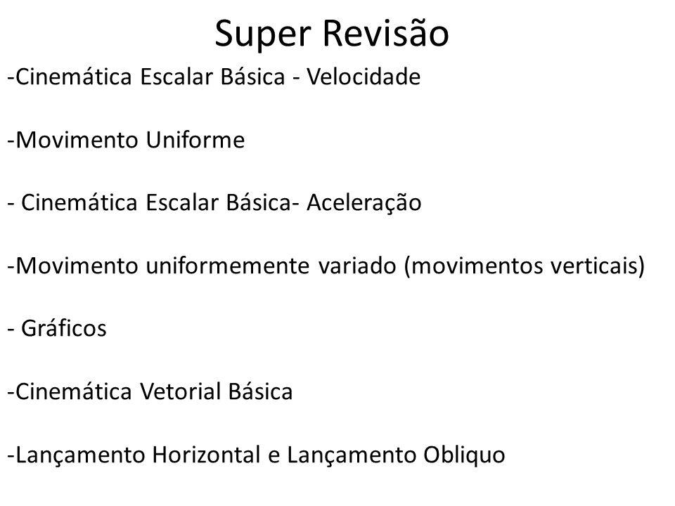 Super Revisão -Cinemática Escalar Básica - Velocidade -Movimento Uniforme - Cinemática Escalar Básica- Aceleração -Movimento uniformemente variado (mo