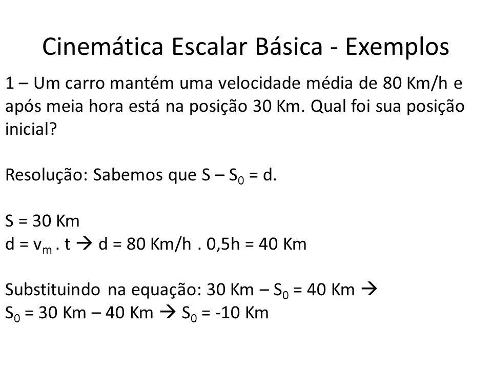 Cinemática Escalar Básica - Exemplos 1 – Um carro mantém uma velocidade média de 80 Km/h e após meia hora está na posição 30 Km. Qual foi sua posição