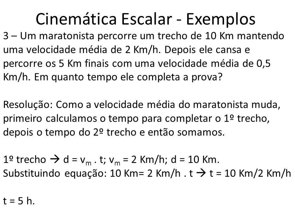 Cinemática Escalar - Exemplos 3 – Um maratonista percorre um trecho de 10 Km mantendo uma velocidade média de 2 Km/h. Depois ele cansa e percorre os 5