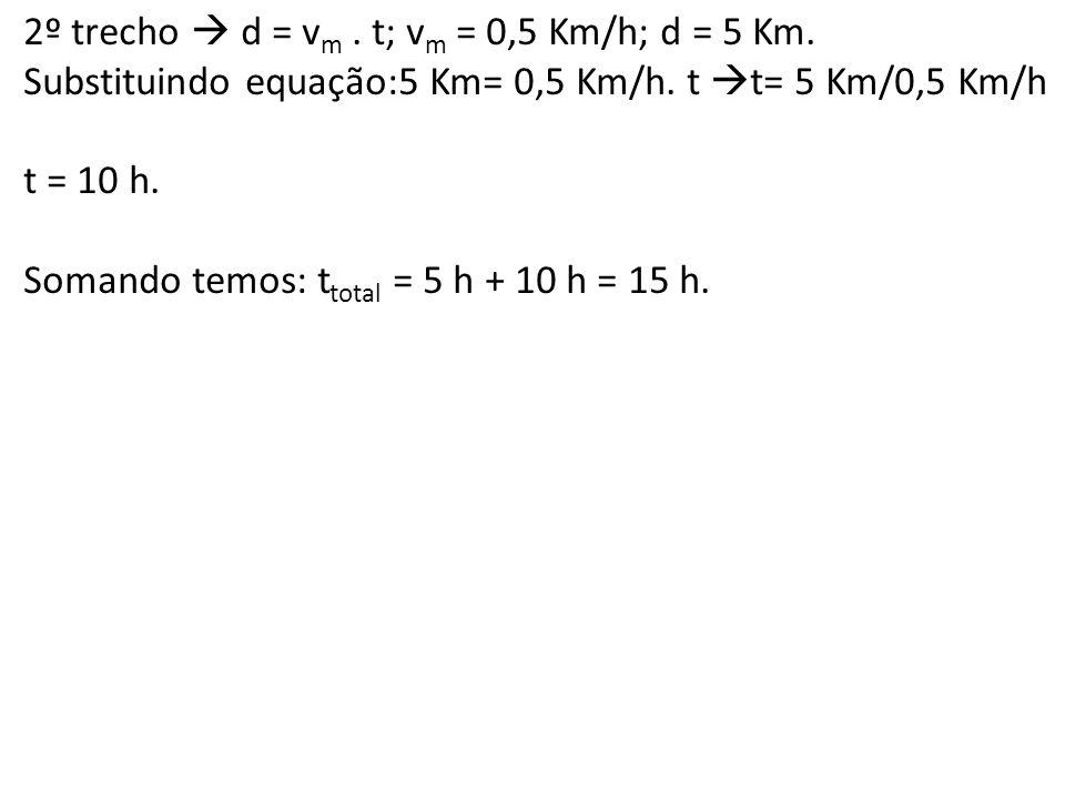 2º trecho d = v m. t; v m = 0,5 Km/h; d = 5 Km. Substituindo equação:5 Km= 0,5 Km/h. t t= 5 Km/0,5 Km/h t = 10 h. Somando temos: t total = 5 h + 10 h