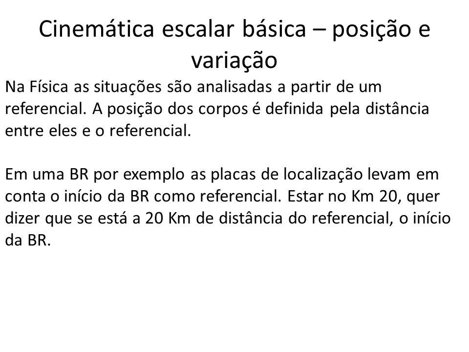 Cinemática escalar básica – posição e variação Na Física as situações são analisadas a partir de um referencial. A posição dos corpos é definida pela