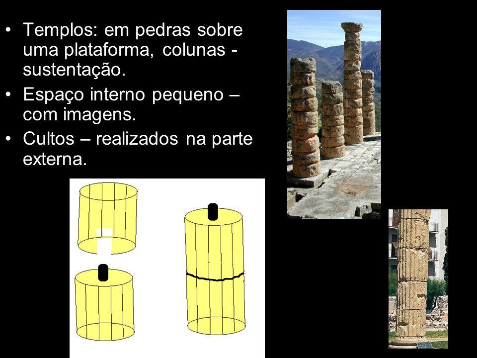 Arquitetura Templos: em pedras sobre uma plataforma, colunas - sustentação. Espaço interno pequeno – com imagens. Cultos – realizados na parte externa
