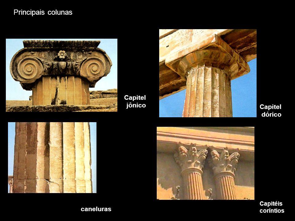 caneluras Capitel dórico Capitel jônico Capitéis coríntios Principais colunas