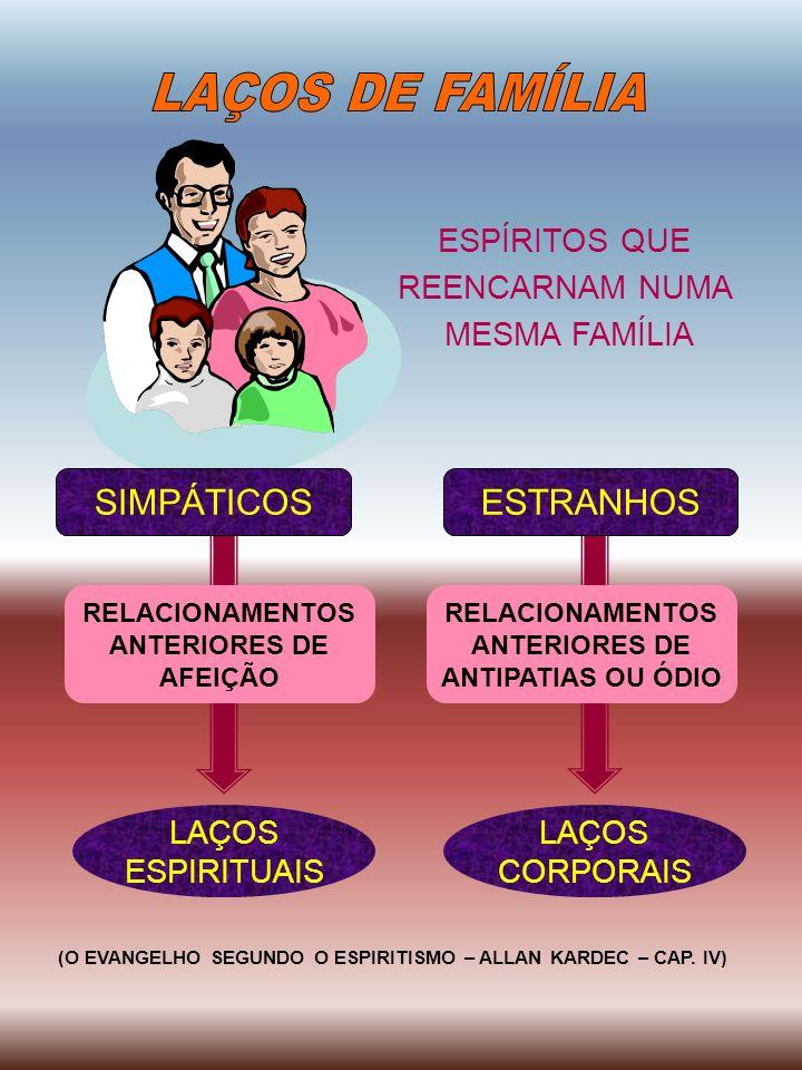 ESPÍRITOS QUE REENCARNAM NUMA MESMA FAMÍLIA RELACIONAMENTOS ANTERIORES DE AFEIÇÃO RELACIONAMENTOS ANTERIORES DE ANTIPATIAS OU ÓDIO LAÇOS ESPIRITUAIS L