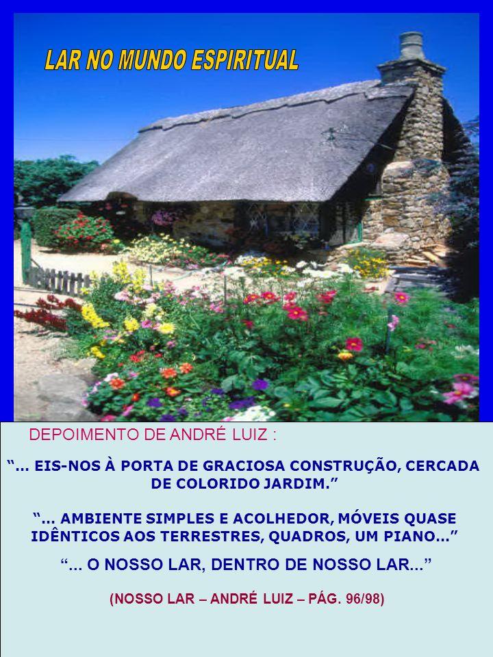 DEPOIMENTO DE ANDRÉ LUIZ :... EIS-NOS À PORTA DE GRACIOSA CONSTRUÇÃO, CERCADA DE COLORIDO JARDIM.... AMBIENTE SIMPLES E ACOLHEDOR, MÓVEIS QUASE IDÊNTI