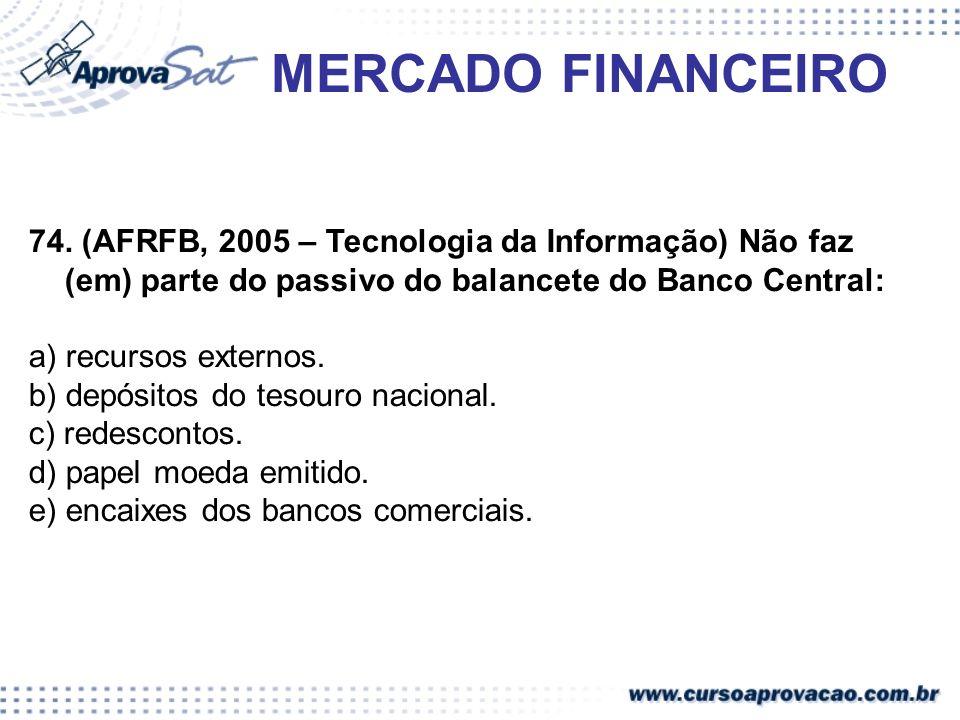 MERCADO FINANCEIRO 74. (AFRFB, 2005 – Tecnologia da Informação) Não faz (em) parte do passivo do balancete do Banco Central: a) recursos externos. b)