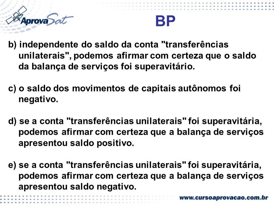 BP b) independente do saldo da conta