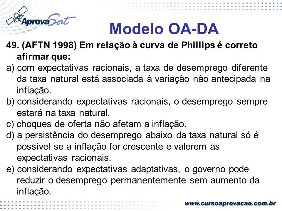 49. (AFTN 1998) Em relação à curva de Phillips é correto afirmar que: a) com expectativas racionais, a taxa de desemprego diferente da taxa natural es