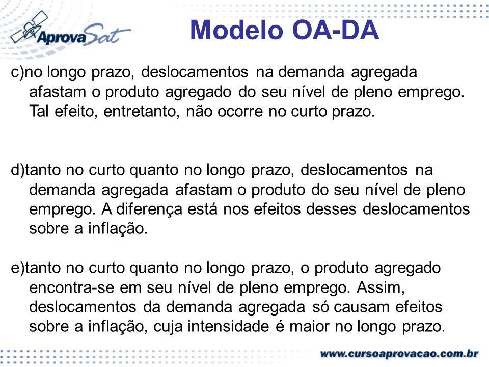 Modelo OA-DA c)no longo prazo, deslocamentos na demanda agregada afastam o produto agregado do seu nível de pleno emprego. Tal efeito, entretanto, não