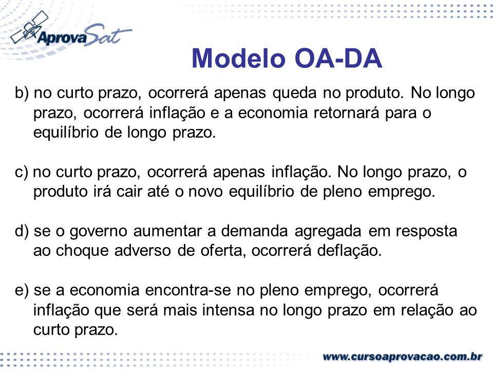 b) no curto prazo, ocorrerá apenas queda no produto. No longo prazo, ocorrerá inflação e a economia retornará para o equilíbrio de longo prazo. c) no