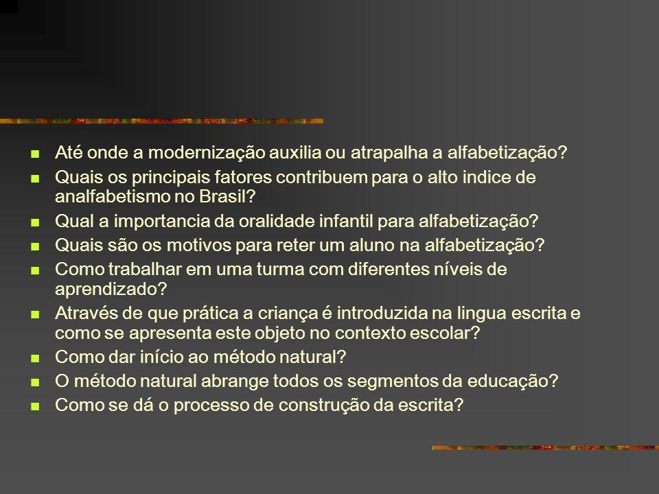 Até onde a modernização auxilia ou atrapalha a alfabetização? Quais os principais fatores contribuem para o alto indice de analfabetismo no Brasil? Qu