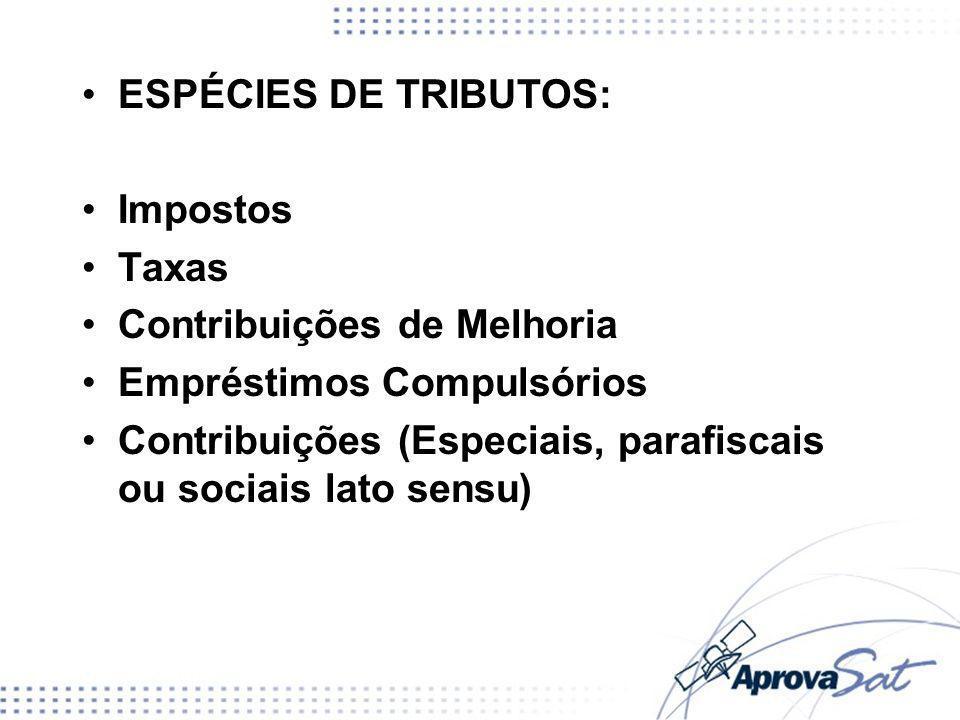 ESPÉCIES DE TRIBUTOS: Impostos Taxas Contribuições de Melhoria Empréstimos Compulsórios Contribuições (Especiais, parafiscais ou sociais lato sensu)
