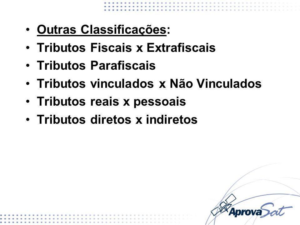 Outras Classificações: Tributos Fiscais x Extrafiscais Tributos Parafiscais Tributos vinculados x Não Vinculados Tributos reais x pessoais Tributos di