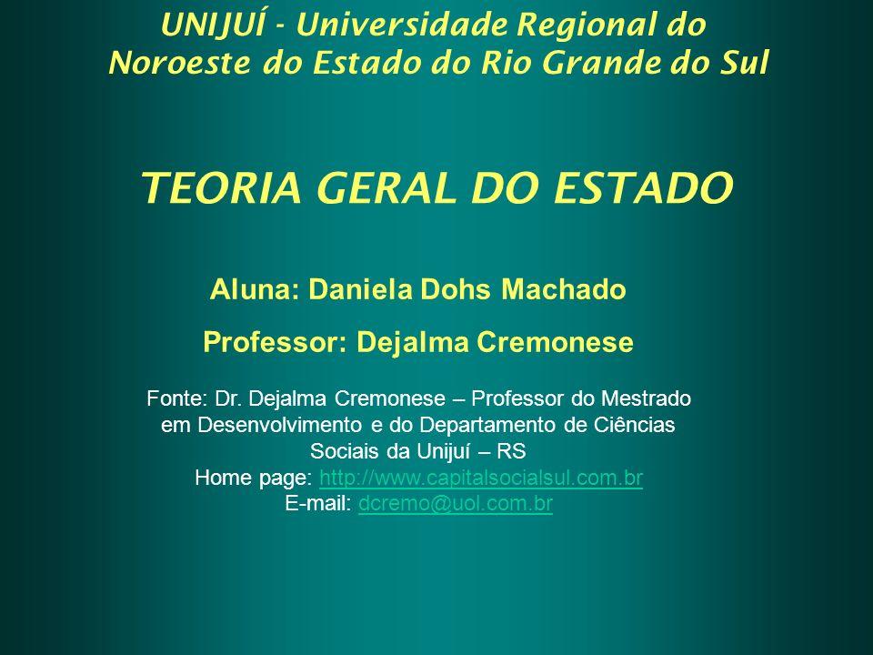 TEORIA GERAL DO ESTADO Aluna: Daniela Dohs Machado Professor: Dejalma Cremonese Fonte: Dr.