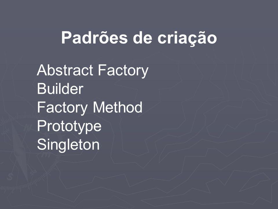 Abstract Factory Builder Factory Method Prototype Singleton Padrões de criação