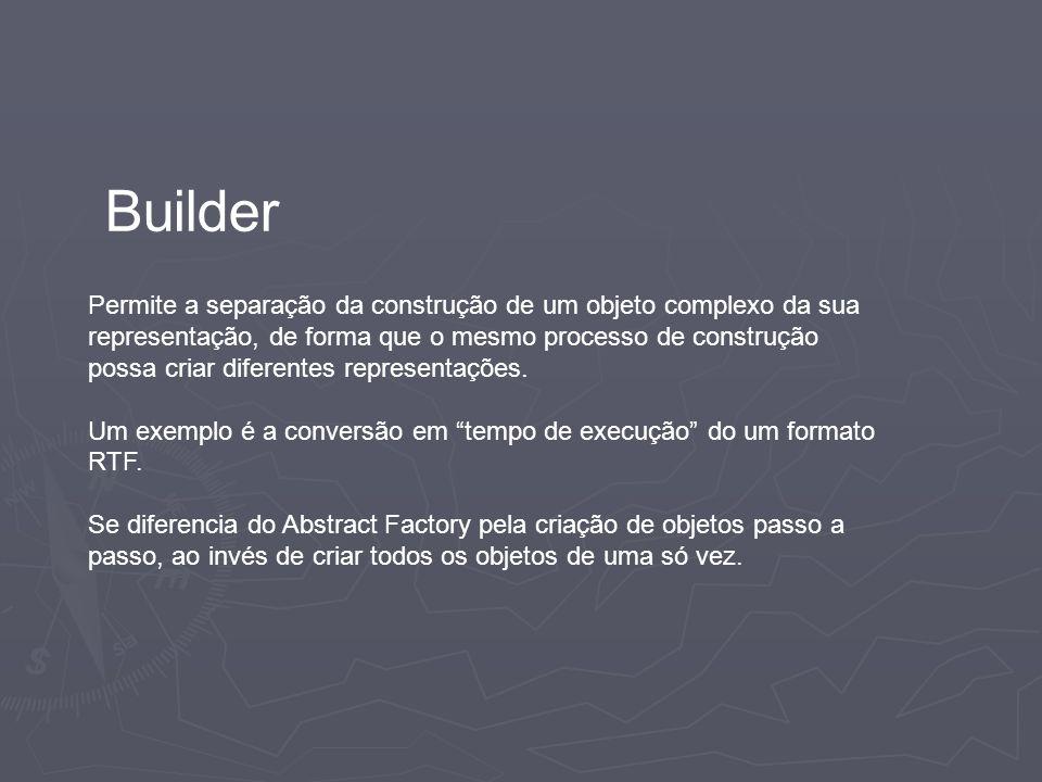 Builder Permite a separação da construção de um objeto complexo da sua representação, de forma que o mesmo processo de construção possa criar diferent