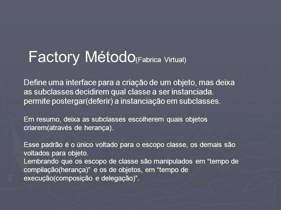 Factory Método (Fabrica Virtual) Define uma interface para a criação de um objeto, mas deixa as subclasses decidirem qual classe a ser instanciada. pe