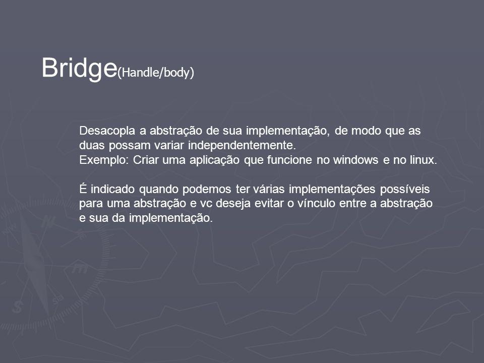 Bridge (Handle/body) Desacopla a abstração de sua implementação, de modo que as duas possam variar independentemente. Exemplo: Criar uma aplicação que
