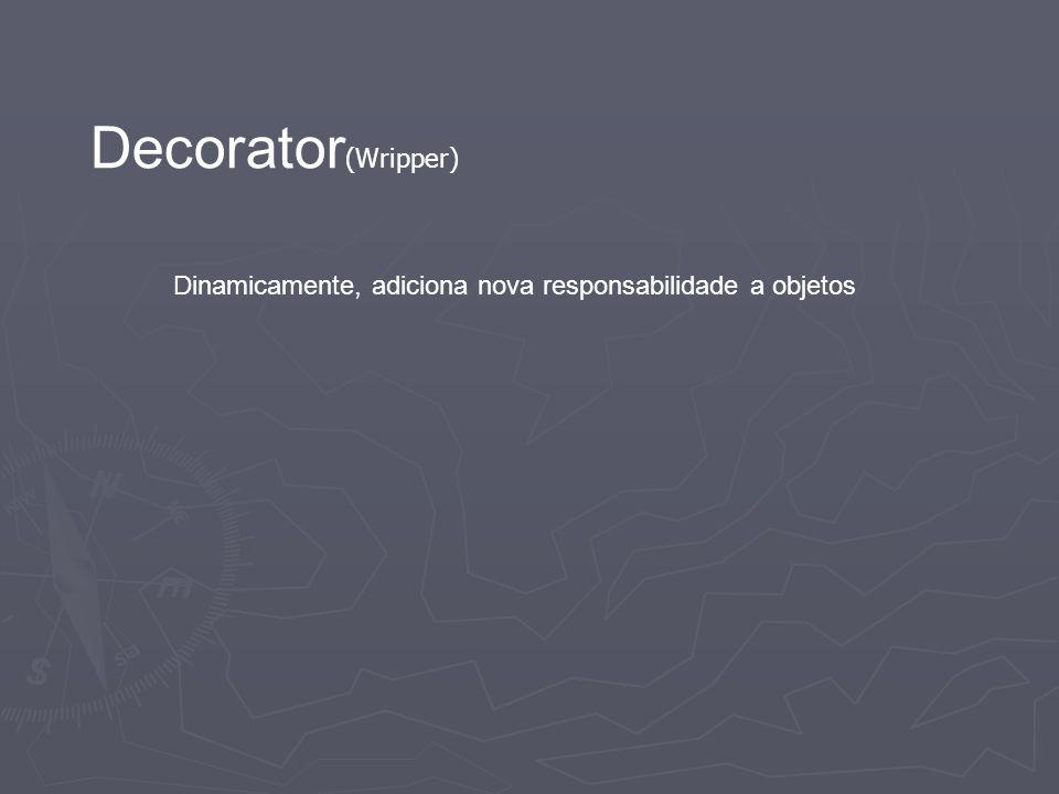Decorator (Wripper) Dinamicamente, adiciona nova responsabilidade a objetos