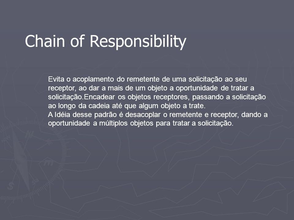 Chain of Responsibility Evita o acoplamento do remetente de uma solicitação ao seu receptor, ao dar a mais de um objeto a oportunidade de tratar a sol