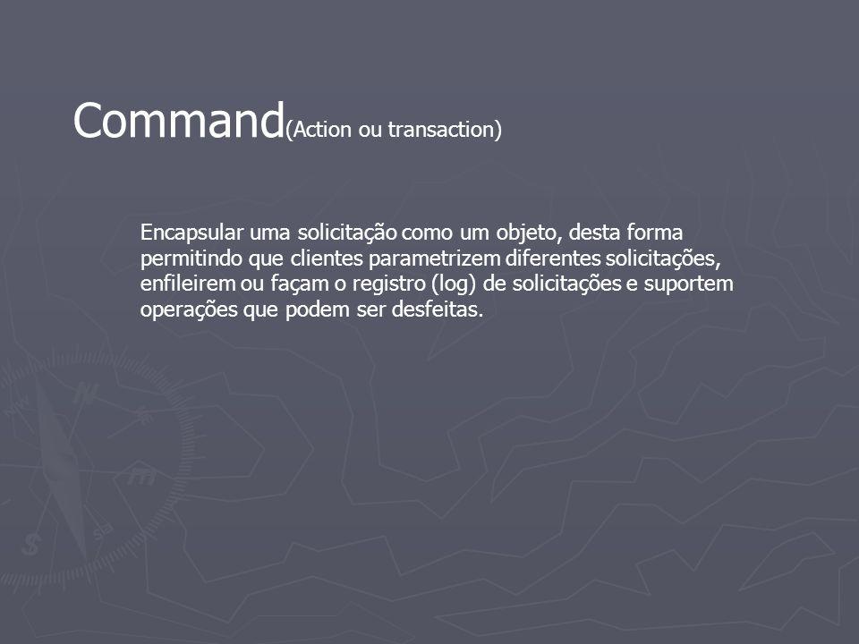 Command (Action ou transaction) Encapsular uma solicitação como um objeto, desta forma permitindo que clientes parametrizem diferentes solicitações, e