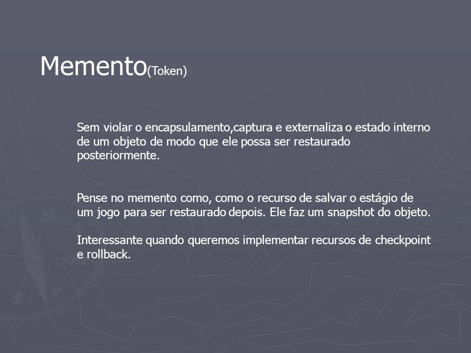 Memento (Token) Sem violar o encapsulamento,captura e externaliza o estado interno de um objeto de modo que ele possa ser restaurado posteriormente. P