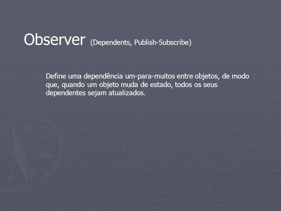 Observer (Dependents, Publish-Subscribe) Define uma dependência um-para-muitos entre objetos, de modo que, quando um objeto muda de estado, todos os s