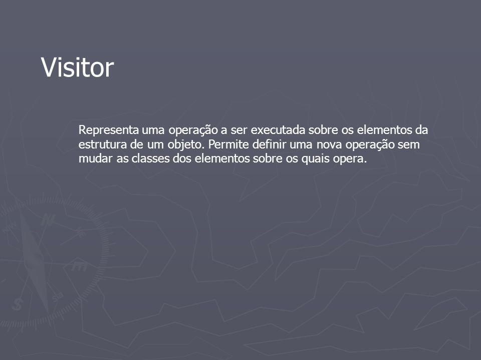 Visitor Representa uma operação a ser executada sobre os elementos da estrutura de um objeto. Permite definir uma nova operação sem mudar as classes d