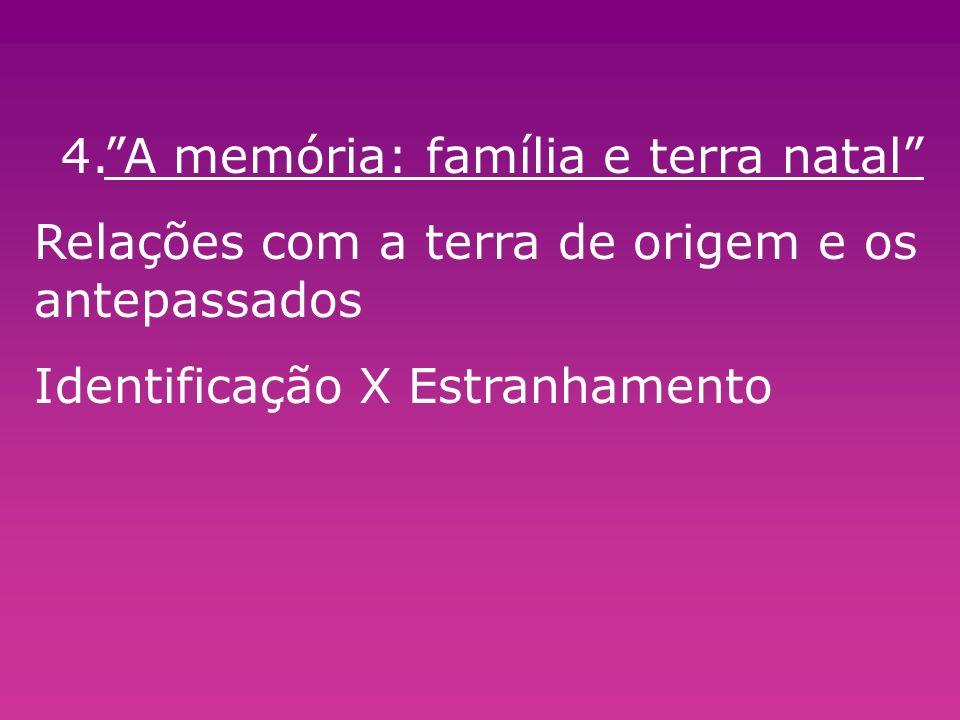 4.A memória: família e terra natal Relações com a terra de origem e os antepassados Identificação X Estranhamento