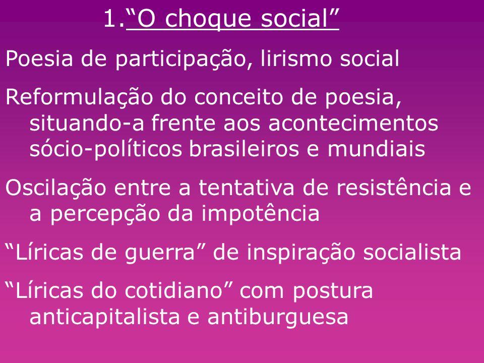 1.O choque social Poesia de participação, lirismo social Reformulação do conceito de poesia, situando-a frente aos acontecimentos sócio-políticos bras
