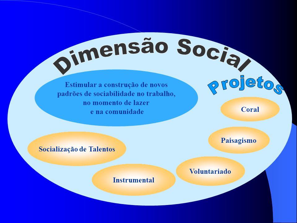 Estimular a construção de novos padrões de sociabilidade no trabalho, no momento de lazer e na comunidade Coral Instrumental Paisagismo Socialização d