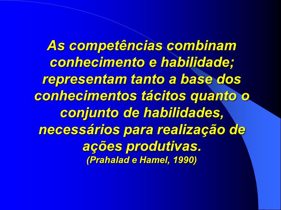 As competências combinam conhecimento e habilidade; representam tanto a base dos conhecimentos tácitos quanto o conjunto de habilidades, necessários p