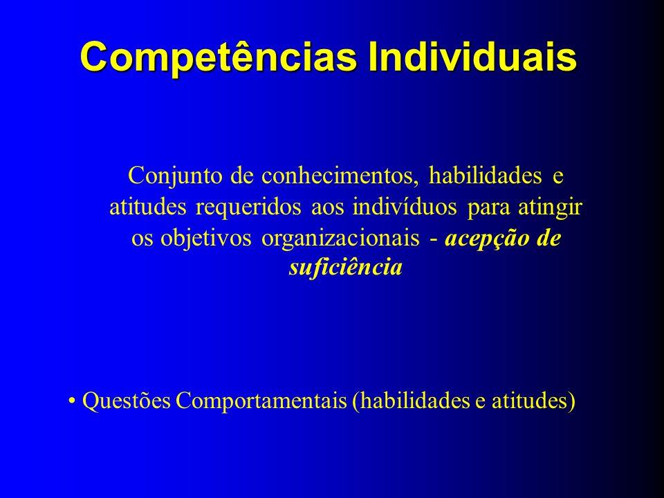 Questões Comportamentais (habilidades e atitudes) Conjunto de conhecimentos, habilidades e atitudes requeridos aos indivíduos para atingir os objetivo