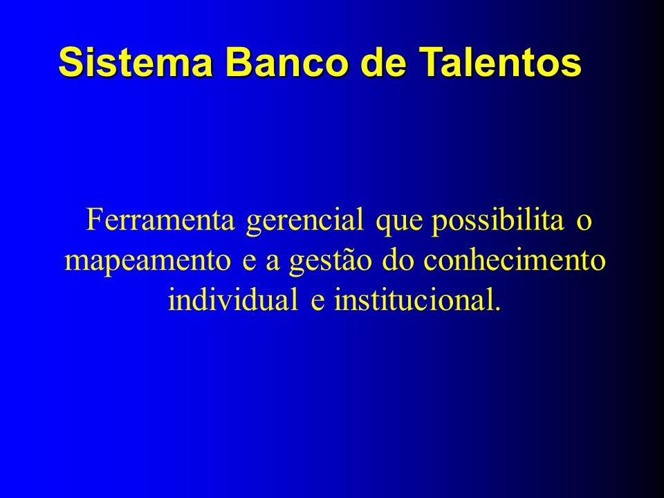 Ferramenta gerencial que possibilita o mapeamento e a gestão do conhecimento individual e institucional. Sistema Banco de Talentos