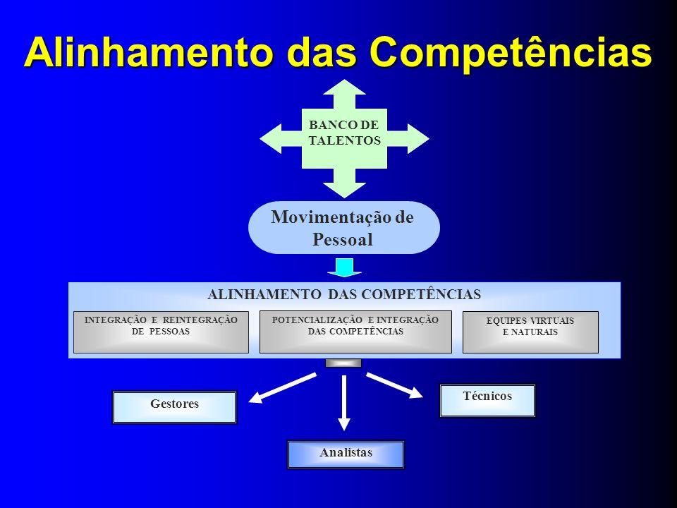 Movimentação de Pessoal ALINHAMENTO DAS COMPETÊNCIAS EQUIPES VIRTUAIS E NATURAIS POTENCIALIZAÇÃO E INTEGRAÇÃO DAS COMPETÊNCIAS INTEGRAÇÃO E REINTEGRAÇ