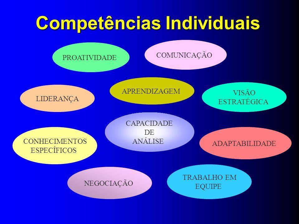 LIDERANÇA COMUNICAÇÃO APRENDIZAGEM PROATIVIDADE VISÃO ESTRATÉGICA ADAPTABILIDADE CONHECIMENTOS ESPECÍFICOS TRABALHO EM EQUIPE NEGOCIAÇÃO CAPACIDADE DE