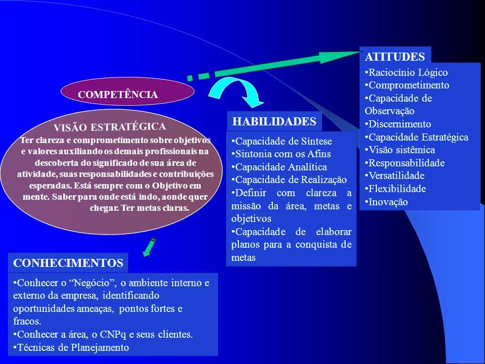 COMPETÊNCIA Ter clareza e comprometimento sobre objetivos e valores auxiliando os demais profissionais na descoberta do significado de sua área de ati