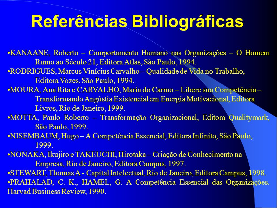 Referências Bibliográficas KANAANE, Roberto – Comportamento Humano nas Organizações – O Homem Rumo ao Século 21, Editora Atlas, São Paulo, 1994. RODRI