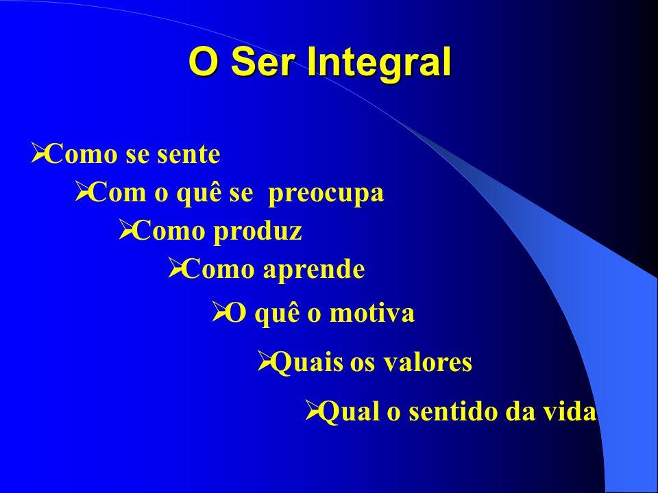 O Ser Integral ØComo se sente ØCom o quê se preocupa ØComo produz ØComo aprende ØQuais os valores ØQual o sentido da vida ØO quê o motiva