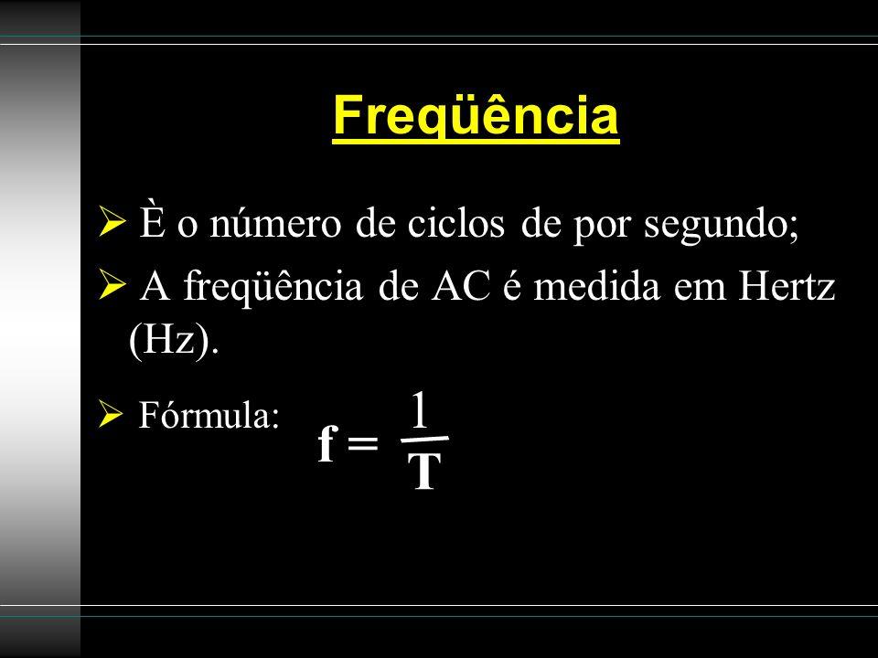 Freqüência È o número de ciclos de por segundo; A freqüência de AC é medida em Hertz (Hz). Fórmula: 1 / T f =