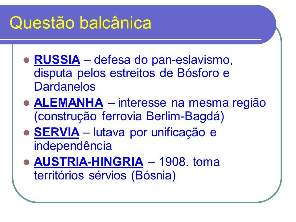 Questão balcânica RUSSIA – defesa do pan-eslavismo, disputa pelos estreitos de Bósforo e Dardanelos ALEMANHA – interesse na mesma região (construção f