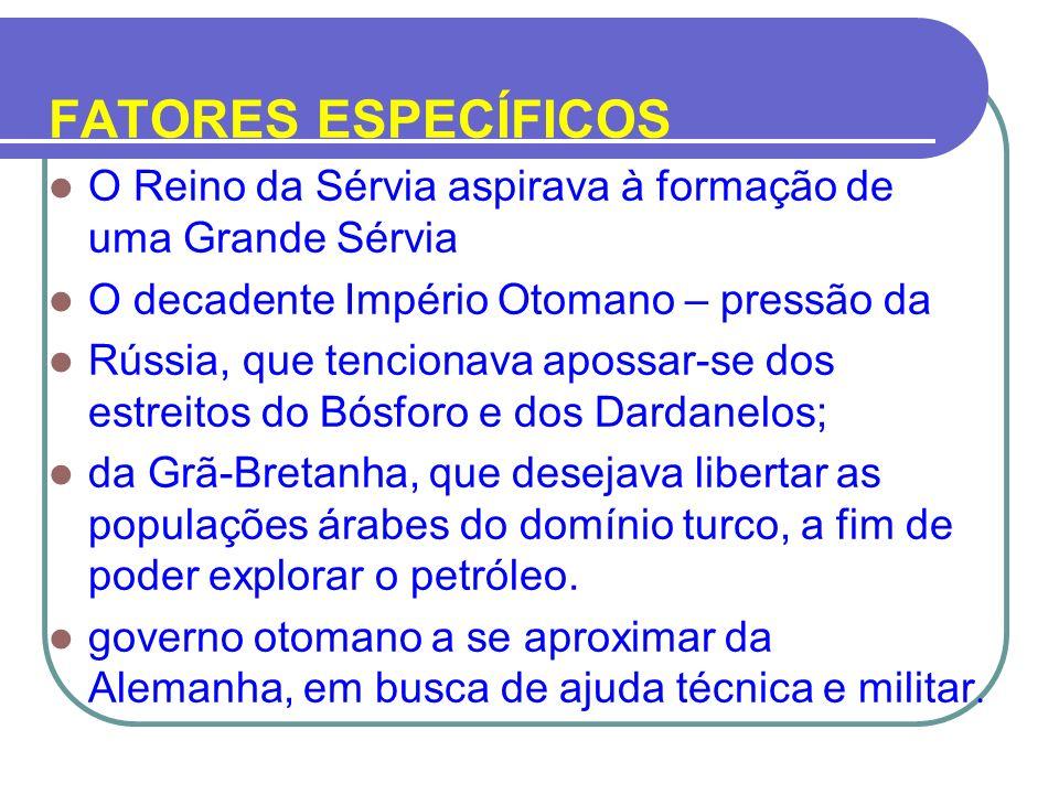 FATORES ESPECÍFICOS O Reino da Sérvia aspirava à formação de uma Grande Sérvia O decadente Império Otomano – pressão da Rússia, que tencionava apossar