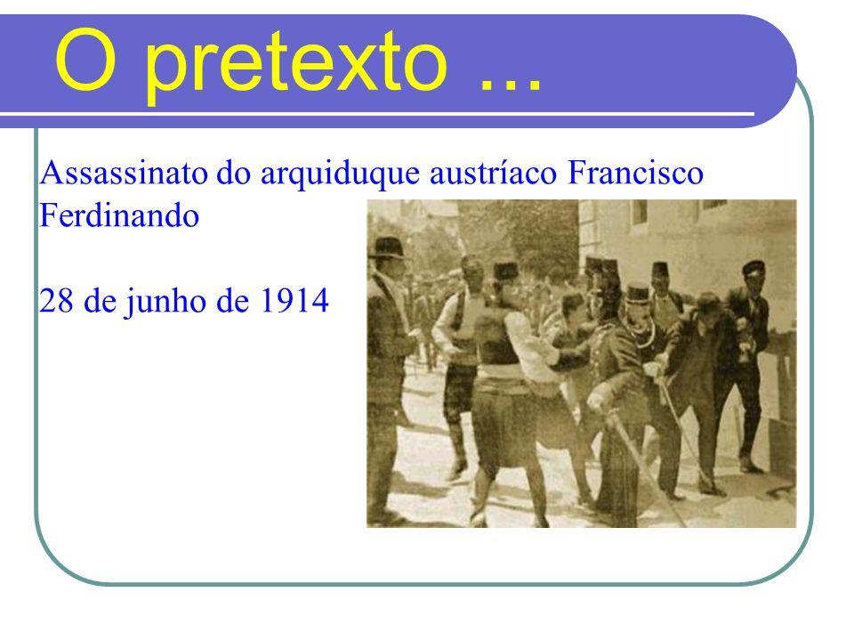 O pretexto... Assassinato do arquiduque austríaco Francisco Ferdinando 28 de junho de 1914