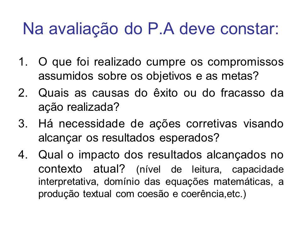 Na avaliação do P.A deve constar: 1.O que foi realizado cumpre os compromissos assumidos sobre os objetivos e as metas? 2.Quais as causas do êxito ou