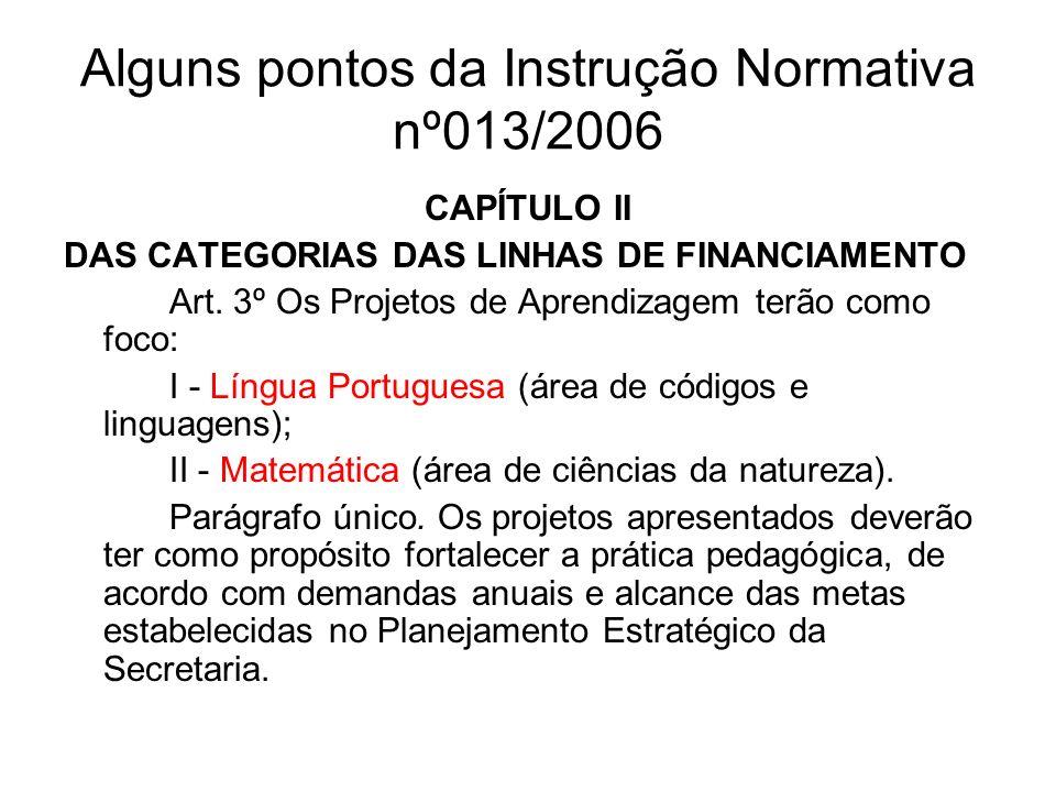 Alguns pontos da Instrução Normativa nº013/2006 CAPÍTULO II DAS CATEGORIAS DAS LINHAS DE FINANCIAMENTO Art. 3º Os Projetos de Aprendizagem terão como