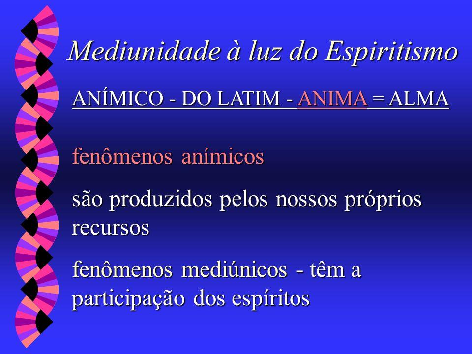 Mediunidade à luz do Espiritismo ANÍMICO - DO LATIM - ANIMA = ALMA fenômenos anímicos são produzidos pelos nossos próprios recursos fenômenos mediúnic