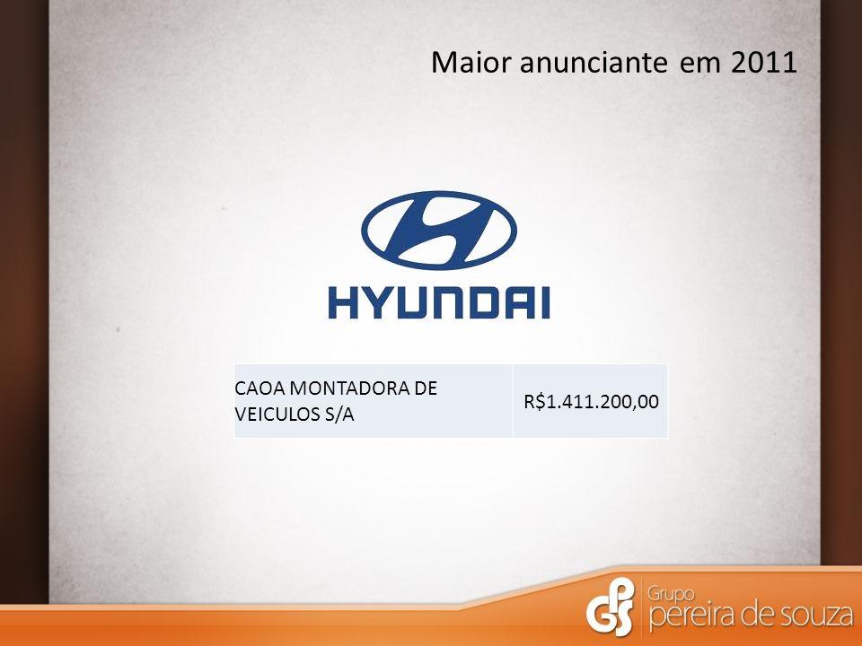 Maior anunciante em 2011 CAOA MONTADORA DE VEICULOS S/A R$1.411.200,00