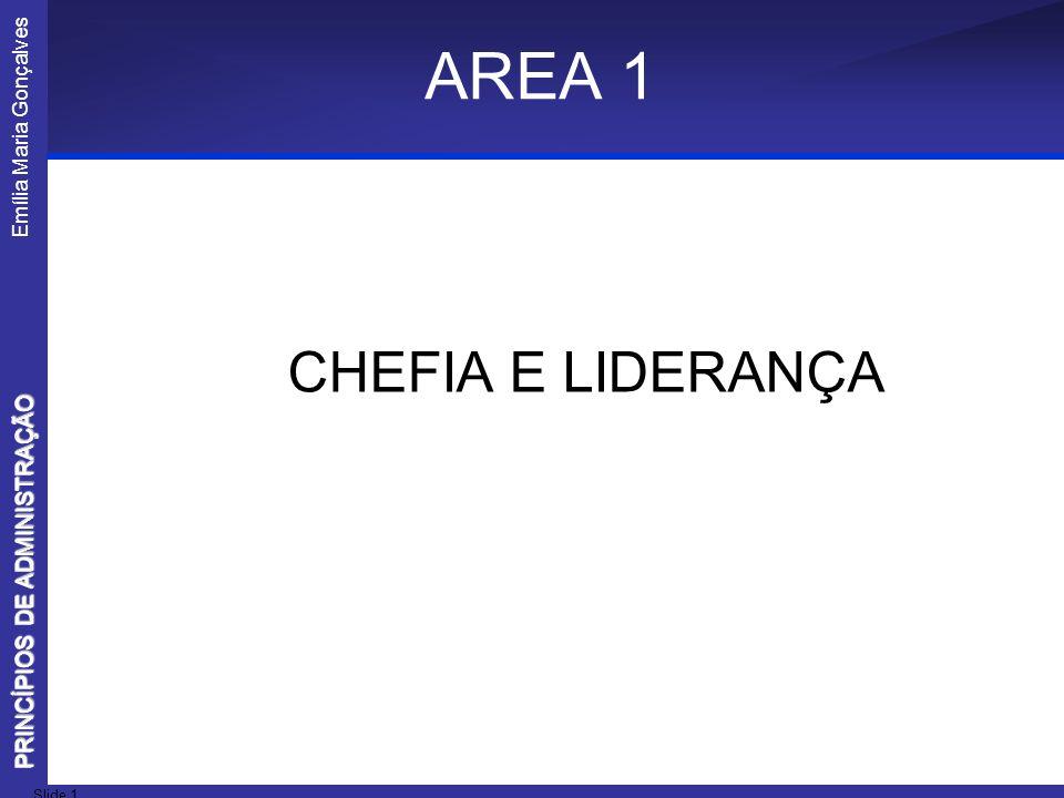 Emília Maria Gonçalves Slide 1 PRINCÍPIOS DE ADMINISTRAÇÃO AREA 1 CHEFIA E LIDERANÇA